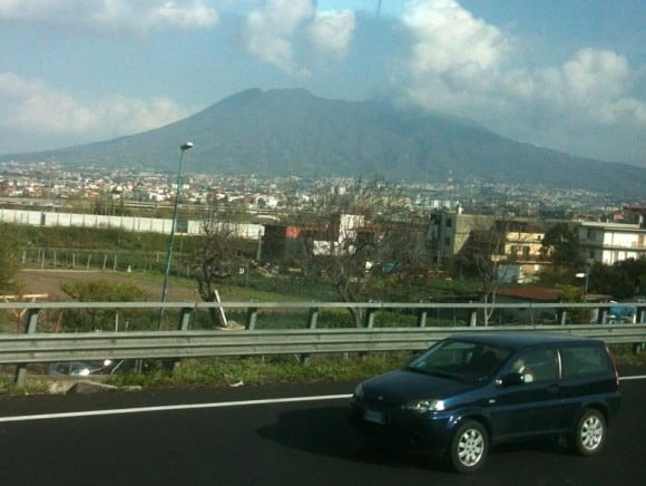 View of Vesuvius from the bus on the way back.... with the clouds now parting...