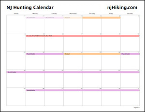 NJ Hunting Calendar for Hikers