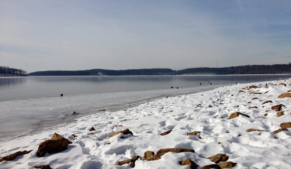 Merrill Creek Reservoir in the Snow