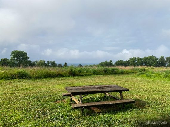 Hill top view with picnic table
