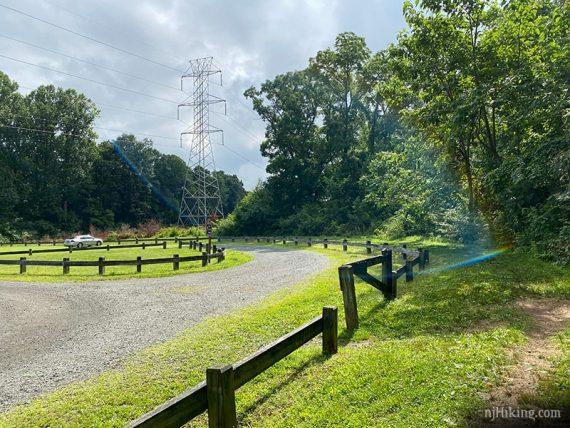 Large parking lot near power line