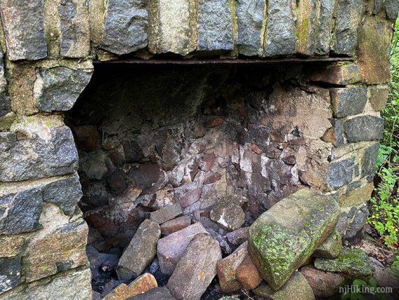 Inside a stone fireplace