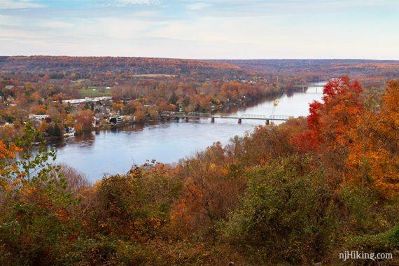 Delaware River, bridge, and fall foliage