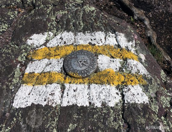 Geologic metal marked embedded in rock with white and yellow paint marks