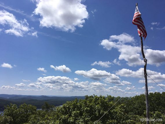 American flag over a view