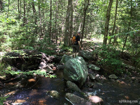 Crossing a stream on rocks