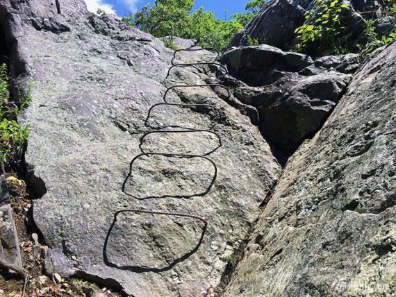 Metal rung ladder on a rock face