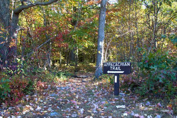 Appalachian Trail sign with an arrow