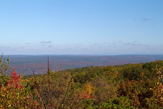 View from the platform of NJ, PA and in the distance, NY's Catskills