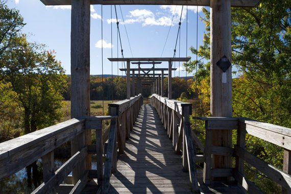 Crossing the Pochuck Suspension Bridge
