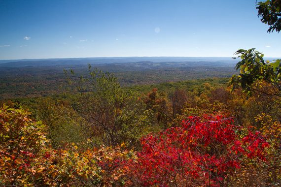 View over New Jersey with bright red foliage