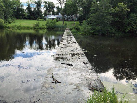 Concrete divider in a lake