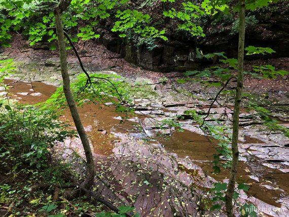 Flat rock along a stream bed
