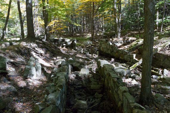 Stone embankments along a trail