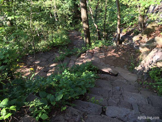 Steep, worn stairs