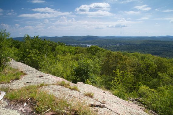 Rock slab with green trees and Greenwood Lake in the distance