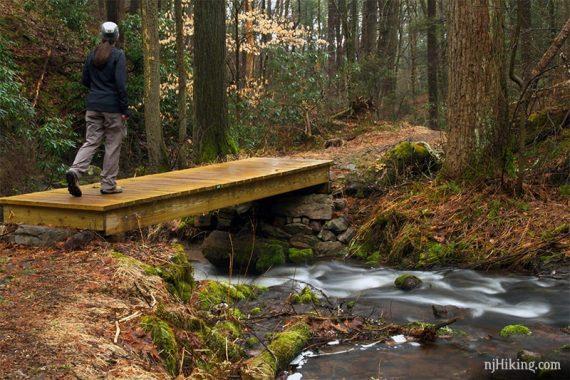 Hiker crossing wooden bridge over stream