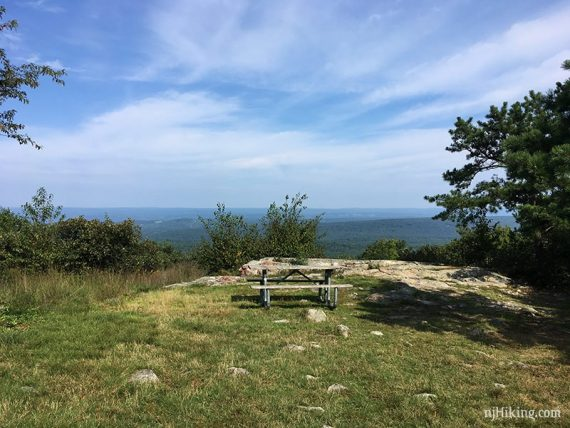 Picnic table with a view at Culver Fire Tower