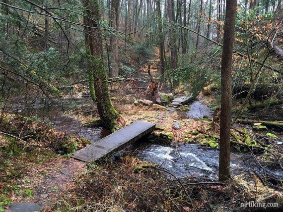 Wooden plank bridge over a stream