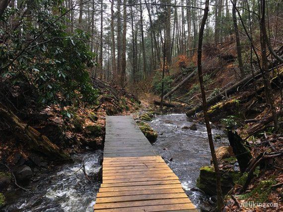 Wooden bridge over a stream