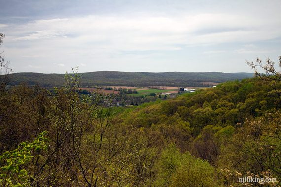 View over farm land and forest