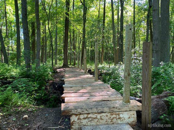 Wooden bridge under construction