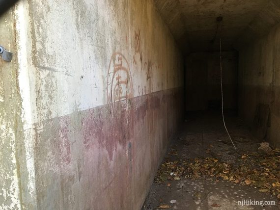 Looking through the fence into the bunker