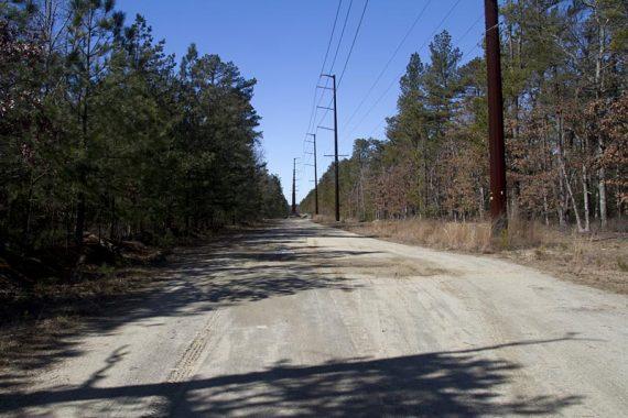 PURPLE follows a power line access road for a bit