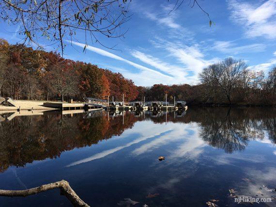 Boats at the edge of a lake