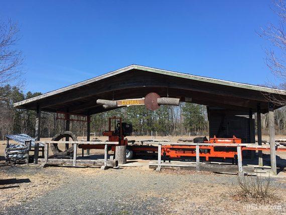 Sawmill equipment under a wooden roof