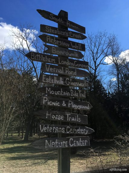 Tall wooden trail sign with many park destinations