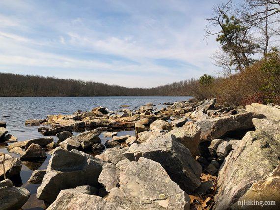 Rocky shoreline of Sunfish Pond