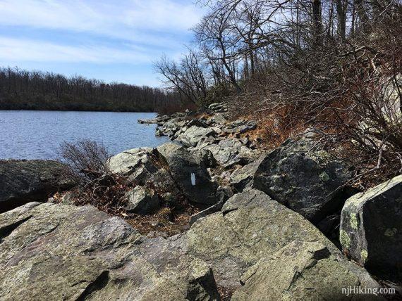 White AT blaze on rocks along Sunfish Pond