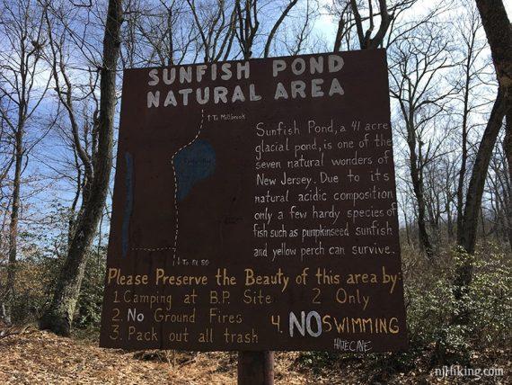 Sunfish Pond sign
