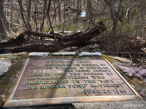 Douglas plaque with Laurel Falls beyond.