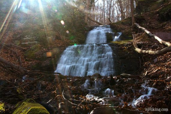 Upper Laurel Falls with sun light streaming above it
