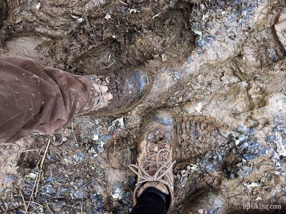 Boots covered in mud