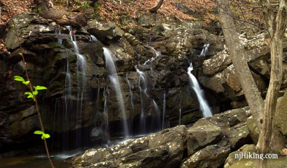 Kugler Falls is reached by a short hike in Kugler Woods Preserve located in Hunterdon County, New Jersey.