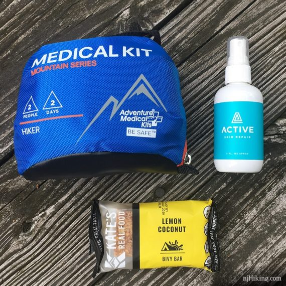 Hiker Adventure Medical Kit, Active repair spray, Kate's Real Food Bar