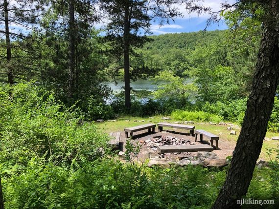 Circle of benches around a fire pit