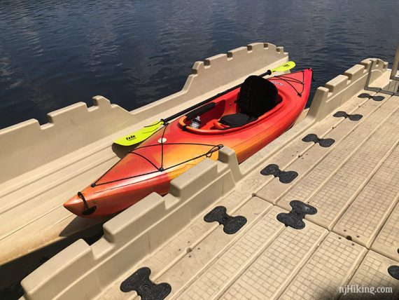 Kayak in a floating dock launch