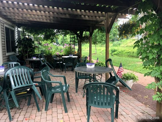 Outdoor seating area at Homestead General Store