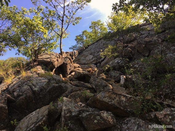 Final bit of rock scramble up Seven Hills