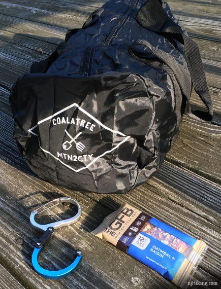 Coalatree Nomad Packable Duffel, Hero Clip, and GFB bar