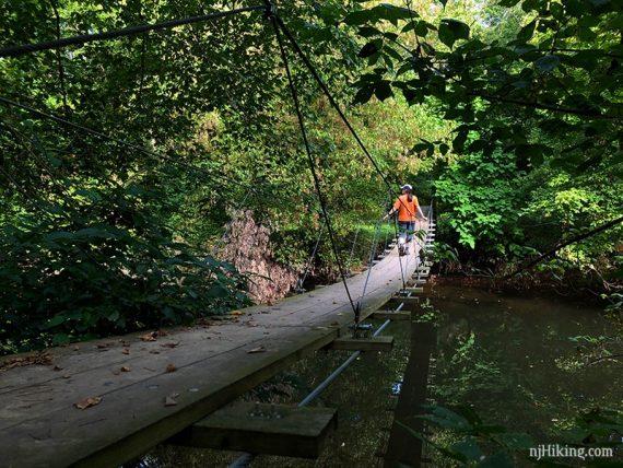 Crossing back over the swinging bridge at Institute Woods