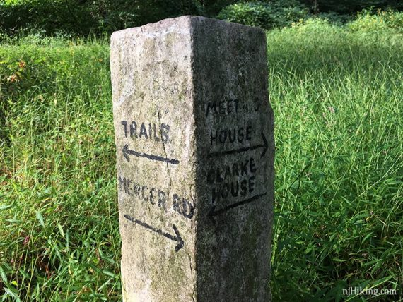 Stone trail marker at Institute Woods