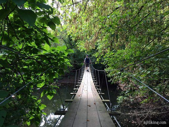 Crossing the swinging bridge