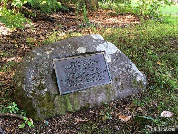 Stone marker near the Trolley Track trail