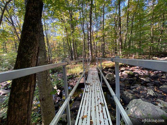 Metal bridge over a stream