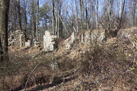 Ruins of farm buildings along the BLUE trail